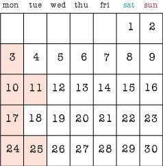 4月の定休日3,10,11,17,24,25日です。