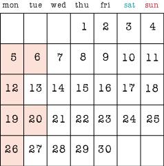 6月の定休日5,6,12,19,20,26日です。