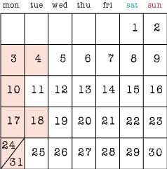 7月の定休日3,4,10,17,18,24,31日です。